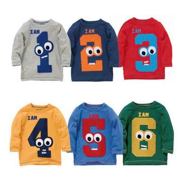best selling kids clothes boys girls 2017 new long sleeve t shirt Cotton Numbers Tee Top Animal Striped print shirts Digital number Print Tops