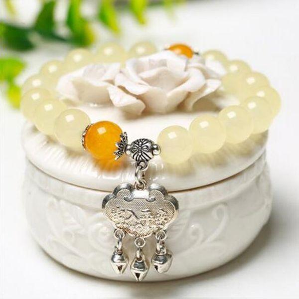 Sweet Temperament Natural Powder Yellow Jade Single Lap Bracelet Ladies Crystal Jewelry Valentine 's Day Birthday Gift