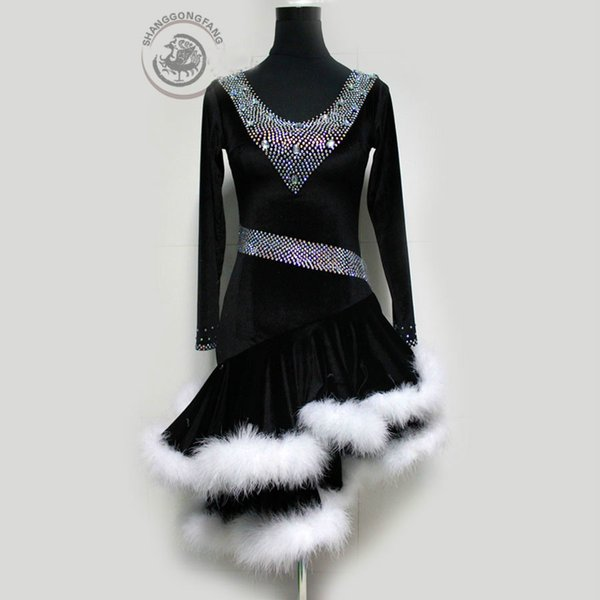 22b591f82 Custom Made Adult/Child New Style Latin Dance Costumes Sexy Senior Stones  Long Sleeves Latin