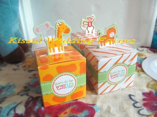 48Pcs/lot Animal Design baby box For baby birthday Gift candy box and baby party decoration box FREE SHIPPING