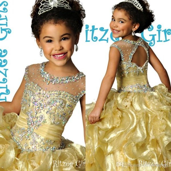 top popular 2020 Luxury Gold Illusion Crew Keyhole Back Ball Gown Floor-length Layers Ruffle Organza Crystals Heavy Beaded Ritzee Girl's Pageant Dresses 2020