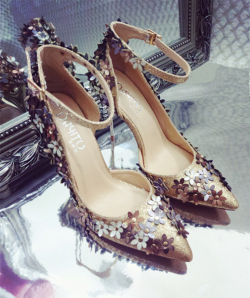 2021 Sexy Wedding Shoes Thin Heels Bridal Shoes Pointed Toe Bling Gold/Silver Wedding Shoes With Flower For Cocktail Party Why choose our store?Three factors make our dresse more competitive Excellent quality,Favorable price,fast delivery and we will provide professional after custom service