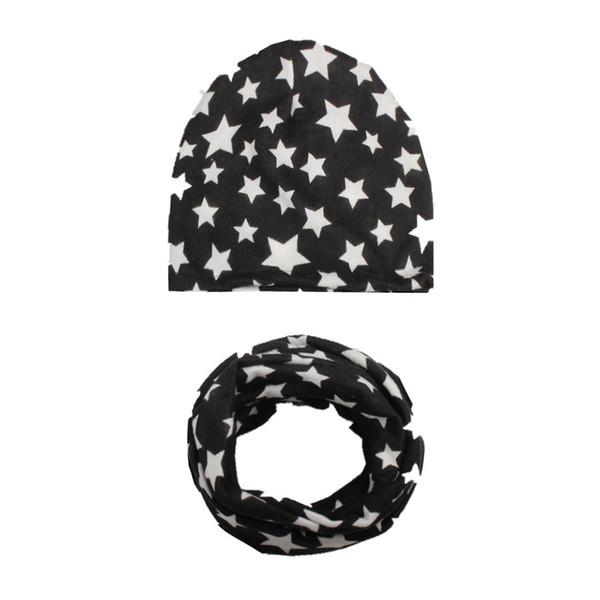 Compre Bebé Sombrero Cuello Bufandas Estrellas Imprimir Algodón ...