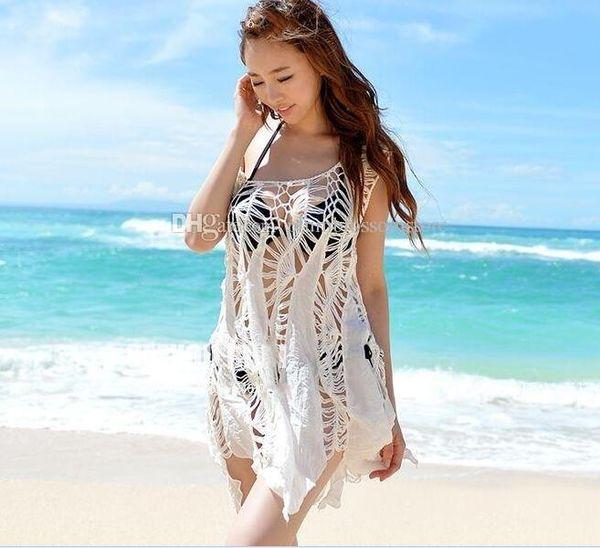 top popular Beach bikini cover ups swimwear women summer Sleeveless dresses lace crochet hollow Irregular blouses sexy holiday Swimsuit sunscreen shirts 2019
