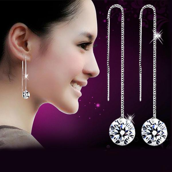 2016 Nouvelle Déclaration De Femmes Longue Goutte En Argent Boucles D'oreilles Cubique Zircone CZ Diamant Cristal Dangle Boucles D'oreilles De Mode Bijoux En Gros C38