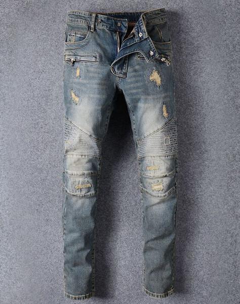 Ünlü Marka Tasarımcısı Erkekler Kot Yırtık Kot Mavi Kaya Yıldız Erkek Tulum Tasarımcı Denim Erkek Pantolon 8863
