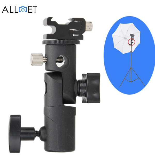 "Wholesale- New Light Bracket Stand Type E Swivel Flash Hot Shoe Umbrella Holder With 1/4"" to 3/8"" Screw Mount For Photo Studio Accessories"