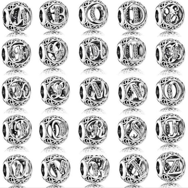 26 pz / lotto Moda Genuino 100% 925 Sterling Silver Rotonda Lettera Perline Per Braccialetto di Marca Europeo Autentico Lusso Gioielli FAI DA TE Regalo STB151