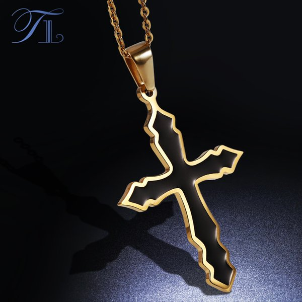 TL Solid Black Plated Cross Stainless Steel Pendent Choker Necklaces Fashion Necklaces & Pendants With 45cm Long Necklace Chain