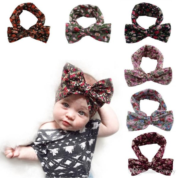 2016 Baby Girls Bohemia Headbands Bows Kids Floral Bowknot Headband Big Bows Head bands for Newborn Children Cotton Hair Accessories KHA392