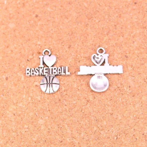 80 pcs de Prata Antigo Banhado Eu amo basquete Encantos Pingentes para Pulseira Europeia Jóias Fazendo DIY Handmade 21 * 20mm
