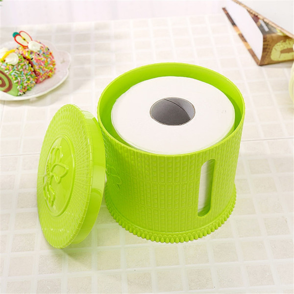Wholesale- Table Tissue Boxes Case Holder Roll Bathroom Plastic Toilet Storage Box Organizer Home Desktop Container QQP116
