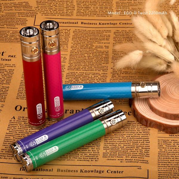 Free DHL Shipping 50pcs GS EGO 2 Twist Battery EGO II Twisted VV Battery 3.3v-4.8v 2200mah 9 Colors