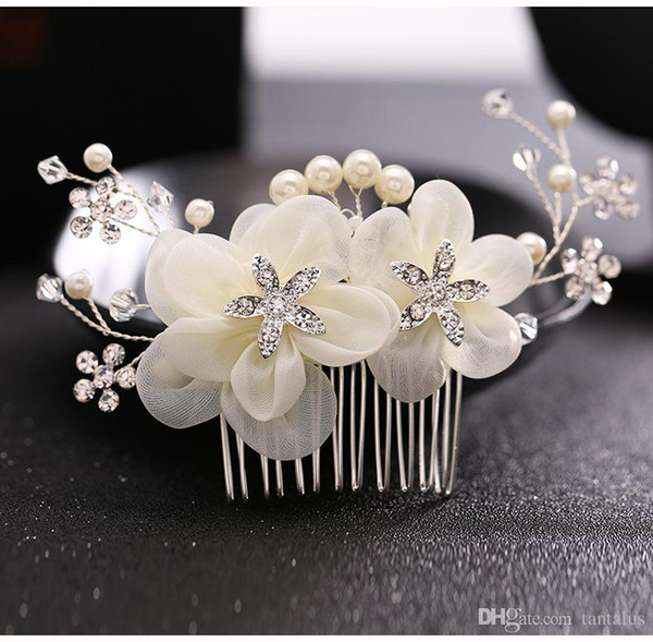 white flower bridal hair comb wedding pearl Headpiece bride crystal rhinestone hair accessories headdress women hair jewelry