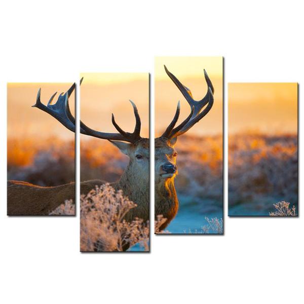 Pinturas de animales Arte de la pared Elk Deer en el Autumn Morning Grass Cuadro de 4 paneles Imprimir en lienzo para la decoración del hogar moderno