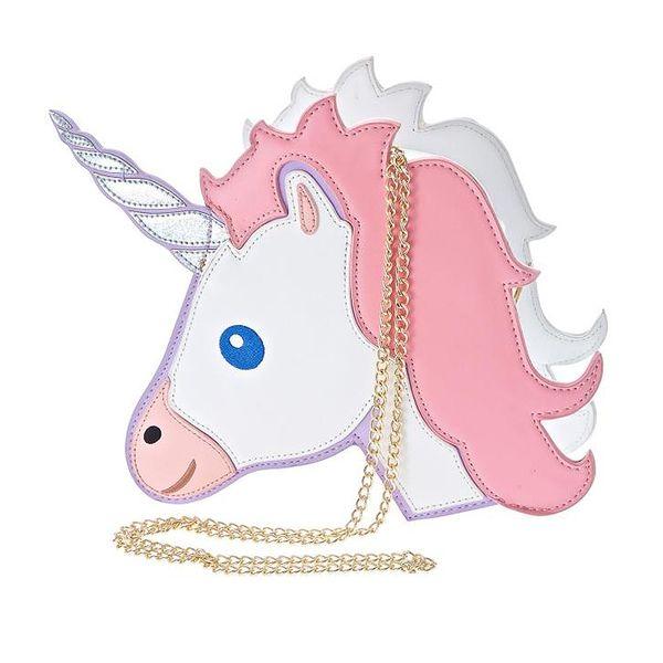 Wholesale- Fun fashion personality fashion trends laser unicorn modeling mini chain shoulder bag ladies handbag messenger bags purse