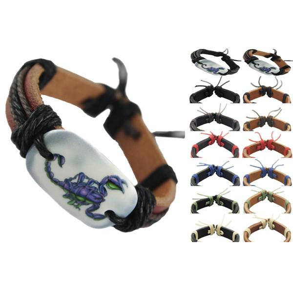 scorpion genuine leather bracelet adjustable black brown wholesale lots fashion chain men women handmade wristband unisex bangle new (DJ102)
