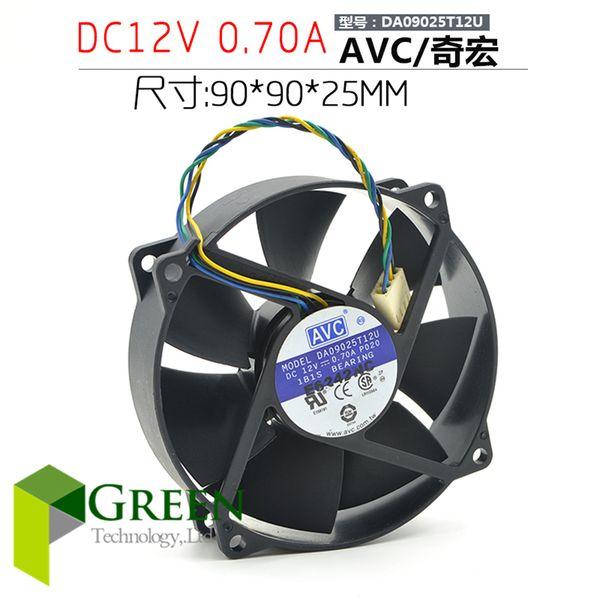 The original AVC DA09025T12U 9025 90MM 90*90*25mm Circular fan For CPU Cooling fan 12V 0.7A with PWM 4pin