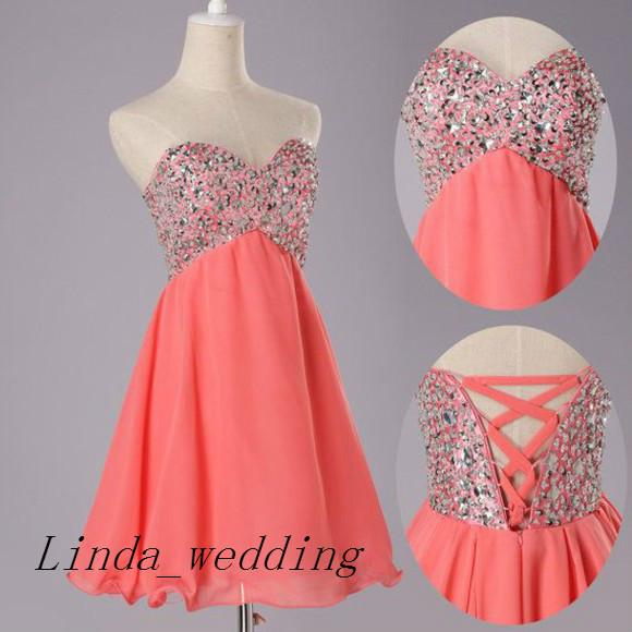Free Shipping Real Sample Picture Coral Colour Prom Dress New Arrival Beaded Short Chiffon Girl Corset Prom Gown Evening