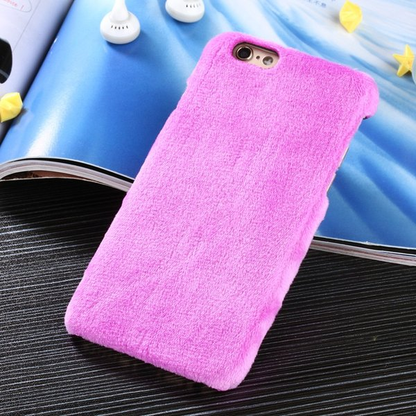Mode Fluffy Downy Back Cases Lapin-like fourrure PC dur Shell Mobile Téléphone cas pour Iphone5 Iphone6 Iphone6plus