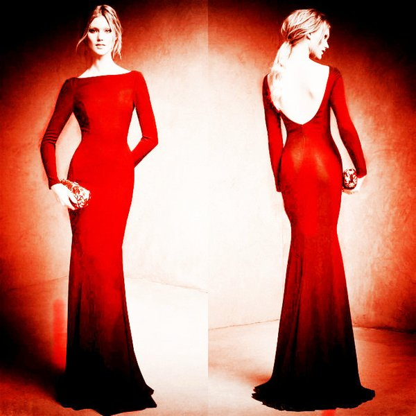 free shipping red long sleeves Evening Dresses 2017 high neck prom dresses backless mermaid Evening Gowns Celebrity dress