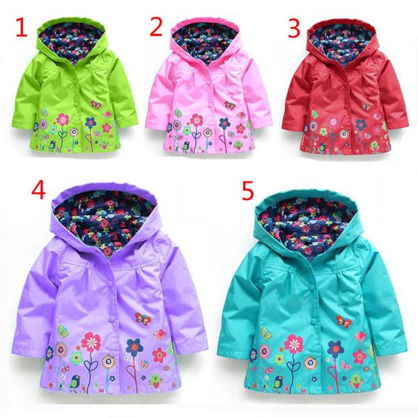 Le ragazze fioriscono l'impermeabile 5 colori DHL libero di modo scherza i vestiti delle neonate Cappotto di inverno Giacca impermeabile del fiore per l'outwear antivento B001