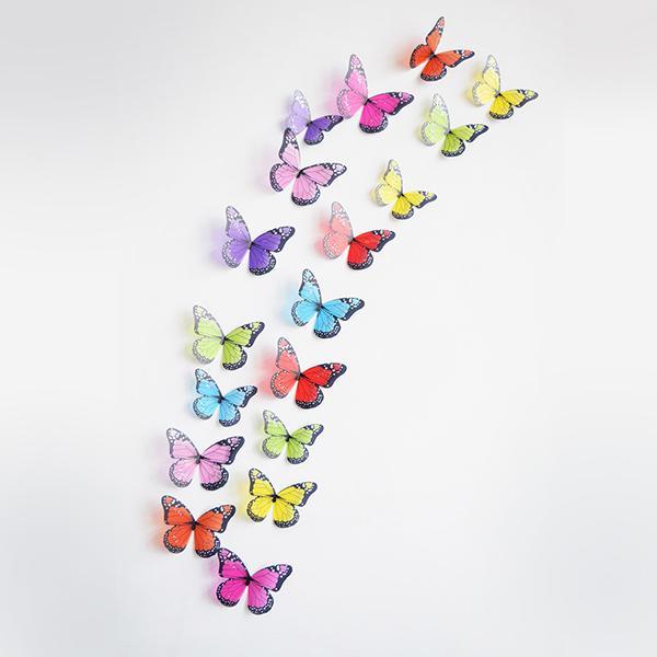 18PCS 3D PVC Butterflies DIY Butterfly Art Decal Home Wedding Decor Wall Mural Stickers Children Bedroom Three-dimensional Removable Sticker