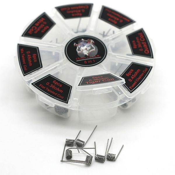 Demon Killer 8 в 1 готовые катушки для электронной сигареты RDA атомайзеры DIY комплекты Clapton Tiger Quad плавленый Clapton катушки