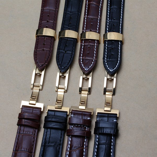 4a2bd285d New Gold Butterfly Deployment Clasps Watch Band 18mm 19mm 20mm 21mm 22mm  Genuine Leather Watch men Straps Bracelets Promotion