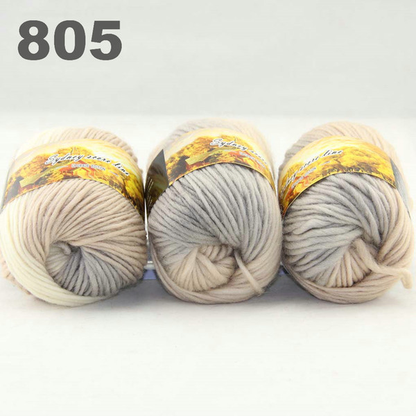 best selling colorful hand-knitted wool line segment dyed coarse lines fancy knitting hats scarves thick line Grey Beige White 522-805