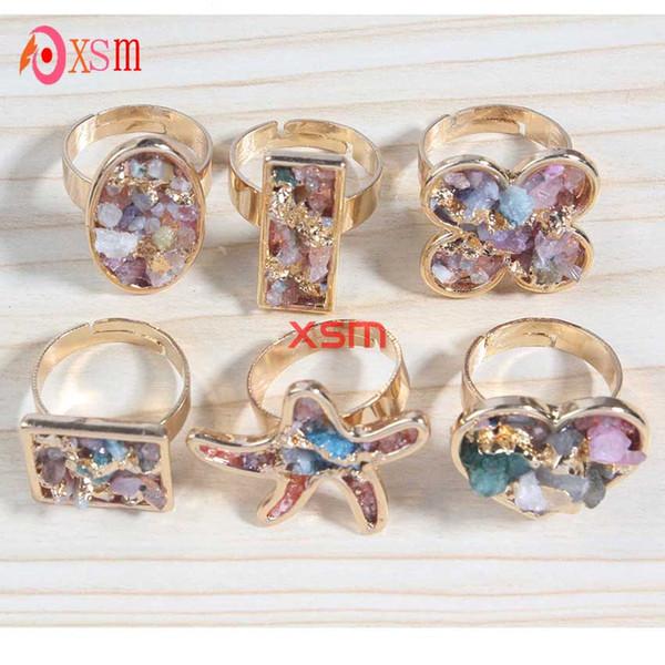 10pc Fashion 24K Gold Unique Natural Stone Quartz Crystal Druzy Starfish Heart Flowers Wedding Ring For Women Free Shipping