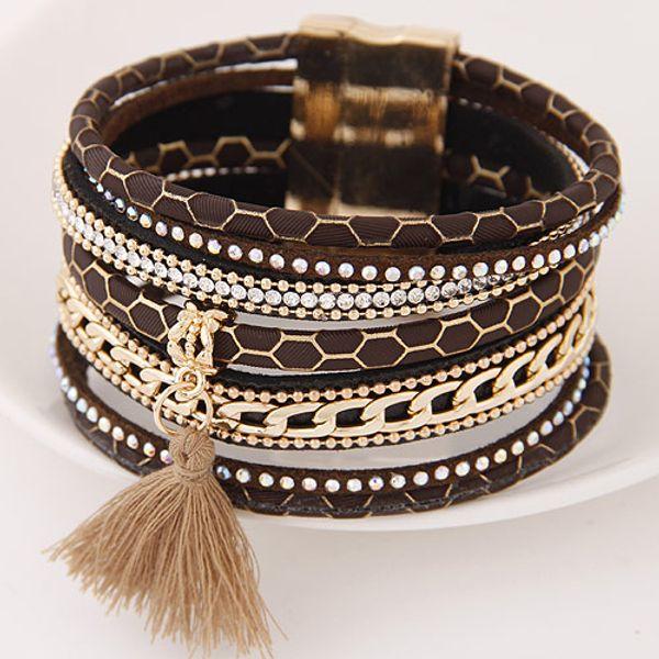 High End Hot Retro Vintage Leather Lodestone Magnet Leopard Tassel Accessories Statement Wristbands Multilayer Bangles Bracelets For Women