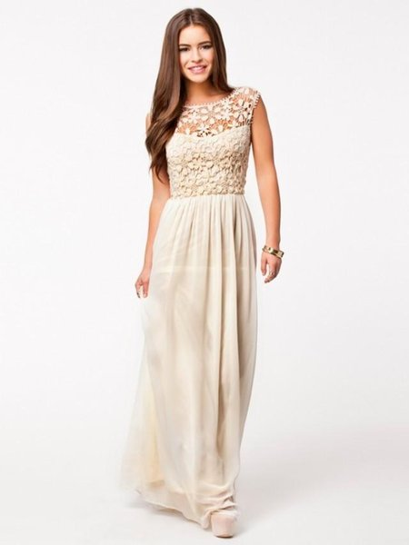 Spring summer Nice women long party dresses Sleeveless backless hollow ladies lace stitching chiffon maxi dress