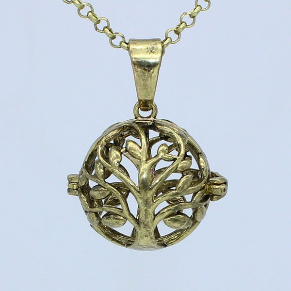 "Wholesale Antique Bronze Tree of Life Hollow Cage Locket Necklace For Aromatherapy Essential Oil Diffuser Pendant 30"" Chain Charms Jewelry"