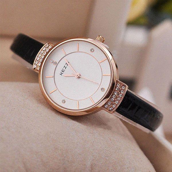ashion Brand kezzi Casual Wristwatches Montre Femme Women Relogio Feminino Ladies Rhinestone Leather Watches Women Cheap leather women w...