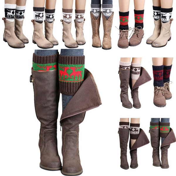 Women Winter Knitted Leg Warmer Socks Christmas Elk Deer Boot Cover Cuffs Gaiters Short Socks 20 Styles OOA3623