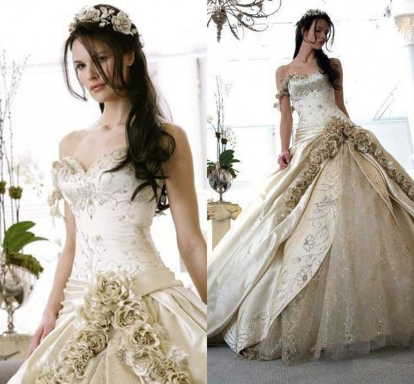 Floral One Shoulder Wedding Dresses Luxury Embroidery Beaded Sequins ...