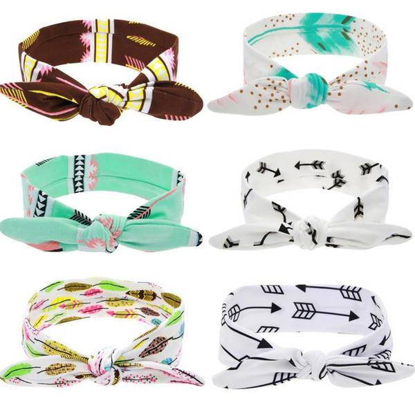 Padrão de Seta de penas Impressão Arco Nó Bebê Meninas Hairband Orelha de Coelho Bowknot Headband Banda Cabeça 6 cores para Crianças Meninas Acessório de Cabelo