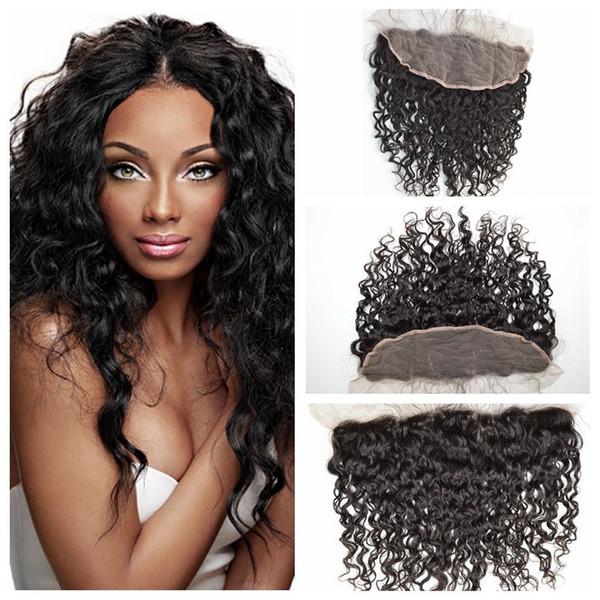 G-EASY Chiusure frontali in pizzo 13x4 con i capelli del bambino indiani capelli umani chiusura del tessuto onda naturale di alta qualità beach wave capelli spedizione gratuita