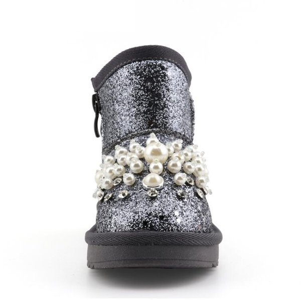 2017 Kid Snow Boot Winner Niños Fashion Pearl Rhinestone Baby Pu Leather Plush Snow Boot Kid Girl Black Flat 2 colores