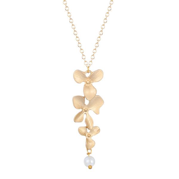 10pcs/lot Orchid Flower Necklace Silver Collier Femme Imitation Pearl Floral Charm Pendant Women Vintage Jewelry Best Friend Gift