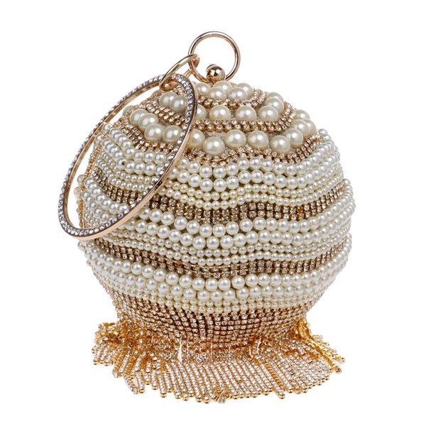 Wholesale-New Design Rhinestones Tassel Women Handbags With Handle Round Beaded Evening Bag Diamonds Pearl Day Clutches Evening Bags