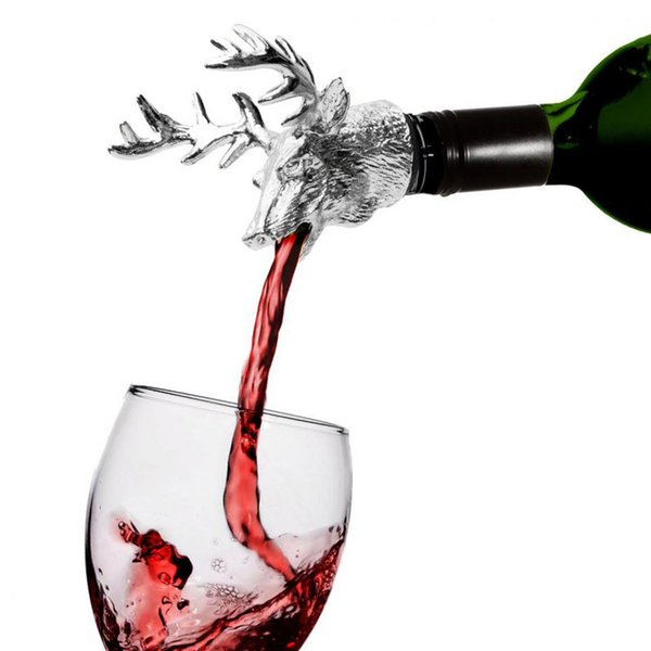Tête de cerf en alliage bouteille de vin bouchon verseur bouchon cerf cerf verseur aérateur de vin avec du caoutchouc de silicone outils de décor de barware