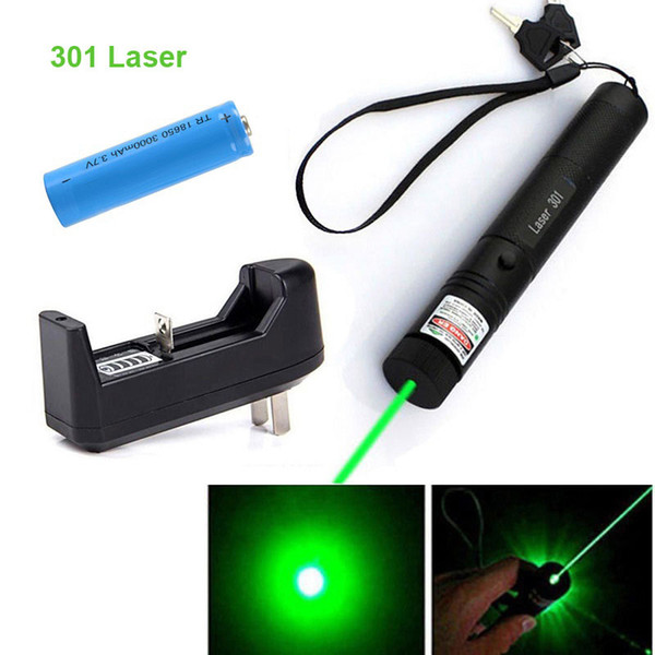 DHL 301 Green Laser Pointer Pen 532nm 5mw Adjustable Focus & Battery + Charger US Adapter Set Free Shipping