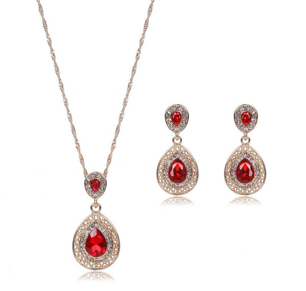 top popular Water Drop Jewelry Sets For Women Best Gift Luxurious Big Brand Necklace Earrings Set 3 Colors Alloy Jewelry For Fashion Party Wear 61152240 2021