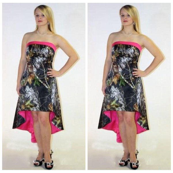 54014ddc825 Strapless Camo High Low Bridesmaids Dresses Camouflage Cheap Lace Up Back Formal  Bridesmaid Wedding Party Gowns