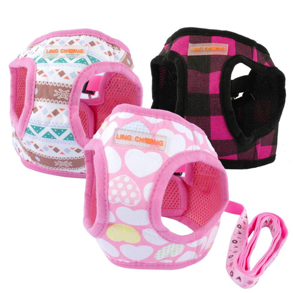 Cute Puppy Dog Harness and Walking Leads Set 4 Sizes Pet Winter Vest for Small Dogs Chihuahua Teddy Pink Black Colors