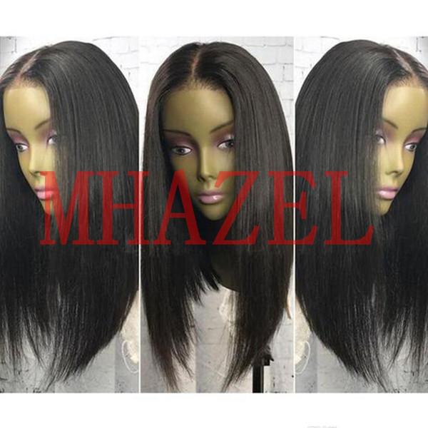 MHAZEL gerçek saç 16 inç 150% brezilyalı virgin İnsan saç bob düz dantel ön peruk tutkalsız orta kahverengi dantel kap