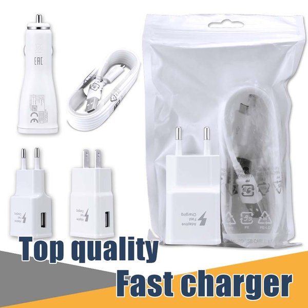 top popular For Samsung S7 Fast Wall Charger Car Charger For S6 Note 5 Travel Adapter 1.5M Micro USB Cable Kits 5V 2A US EU Version Plug No Logo Opp Bag 2019