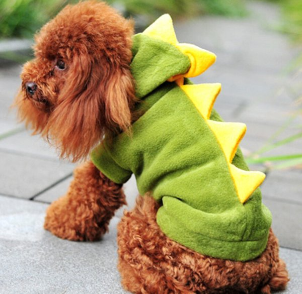 Pets Dog Puppy Cat Winter Clothes Coat Apparel Warm Jacket Hoodie Cute Dinosaur Costume With 2 Color 160909